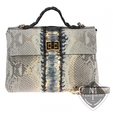 Metallic blue and black genuine python and alligator leather hand bag with Nappa leather and suede lining