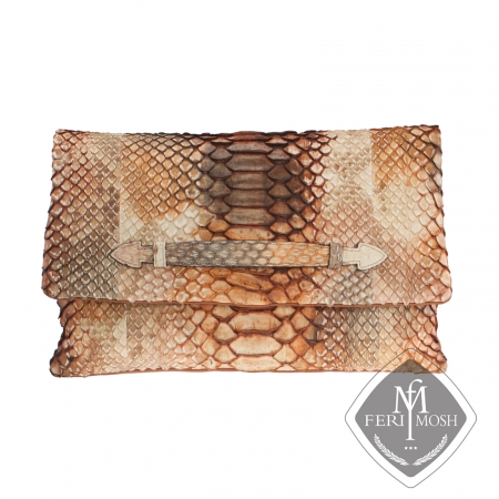 Caramel genuine python and nappa leather envelope clutch  - Made with python skin and backed with nappa leather