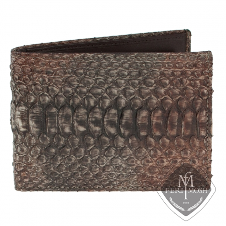 Brown genuine python leather small fold wallet - Made from real python skin and nappa leather