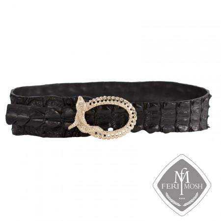 - Black genuine alligator skin belt - Made with real alligator skin