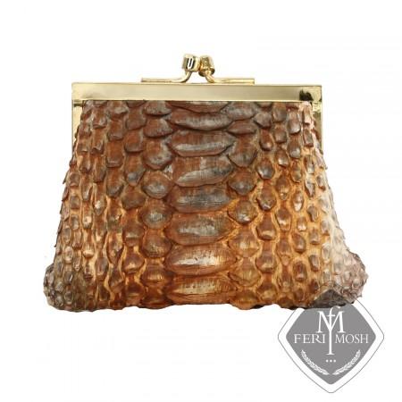 Golden brown genuine python change purse - Made with genuine hand dyed python skin