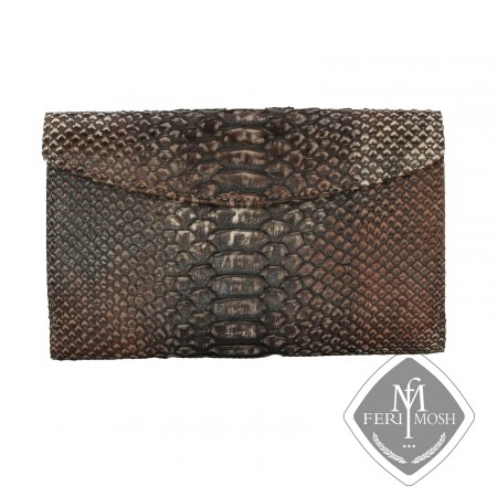Black genuine python and nappa leather envelope clutch - Made with python skin and backed with nappa leather